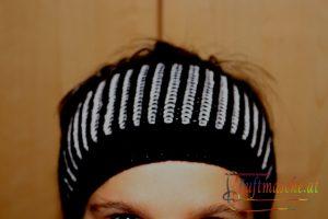 006_strick-haube Stirnband Patentmuster